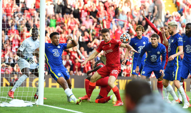 Chelsea's Reece James clears the ball of the line with his arm during the Premier League match between Liverpool and Chelsea at Anfield on August 28,...
