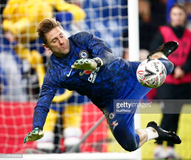 Chelsea's Robert Green during the pre-match warm-up during FA Cup Fifth Round between Chelsea and Manchester United at Stanford Bridge stadium ,...