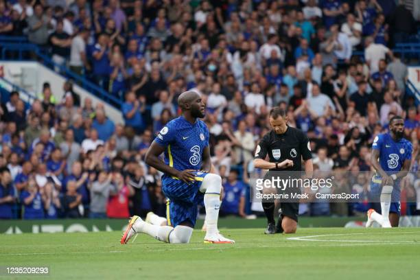 Chelsea's Romelu Lukaku takes the knee prior to kick off during the Premier League match between Chelsea and Aston Villa at Stamford Bridge on...