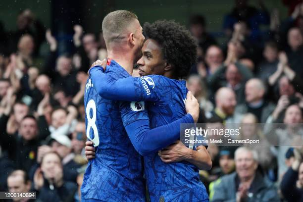Chelsea's Ross Barkley and Willian celebrate their sides second goal during the Premier League match between Chelsea FC and Everton FC at Stamford...