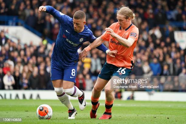 Chelsea's Ross Barkley battles for possession with Everton's Tom Davies during the Premier League match between Chelsea FC and Everton FC at Stamford...