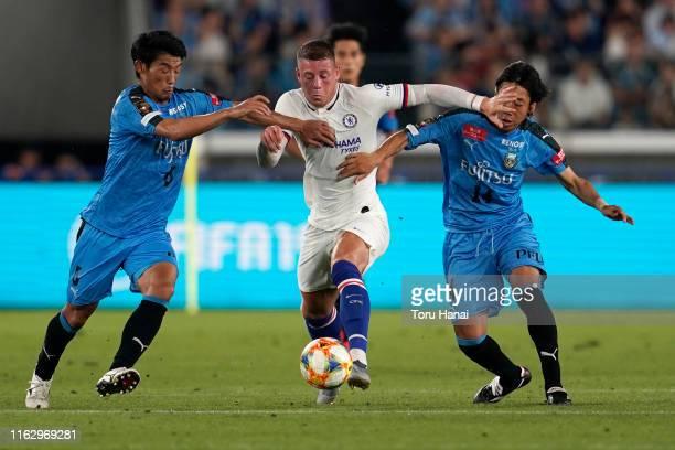 Chelsea's Ross Barkley , Kawasaki Frontale's Hidemasa Morita an Kengo Nakamura in action during the preseason friendly match between Kawasaki...