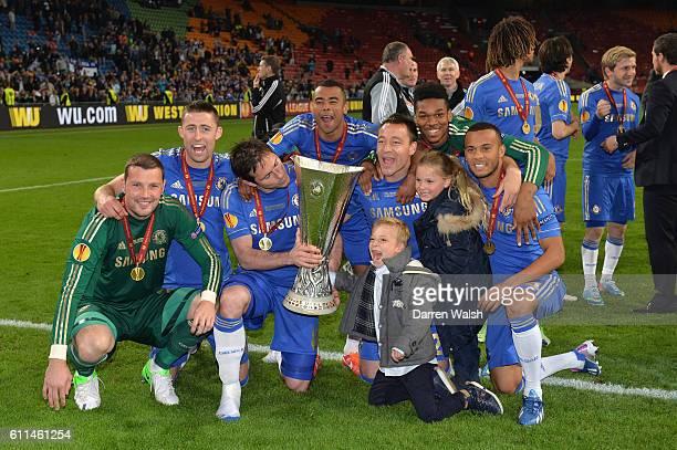 Chelsea's Ross Turnbull Gary Cahill Frank Lampard Jamal Blackman Ashley Cole John Terry Ryan Bertrand celebrate winning during a UEFA Europa League...