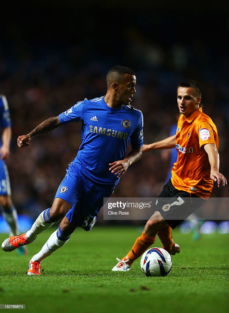 Chelsea's Ryan Bertrand and Wolverhampton Wanderers' Slawomir Peszko compete for the ball during the Capital One Cup third round match between Chelsea and Wolverhampton Wanderers at Stamford Bridge on September 25, 2012 in London, England.
