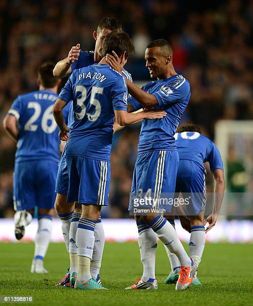 Chelsea's Ryan Bertrand celebrates scoring his side's second goal with his teammates
