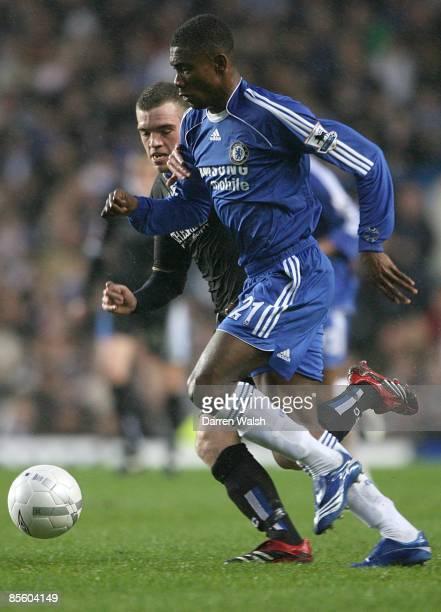 Chelsea's Salomon Kalou is challenged by Macclesfield Town's Jordan Hadfield