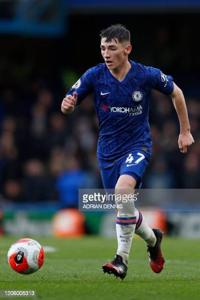 Chelsea's Scottish midfielder Billy Gilmour drives the ball during the English Premier League football match between Chelsea and Everton at Stamford...