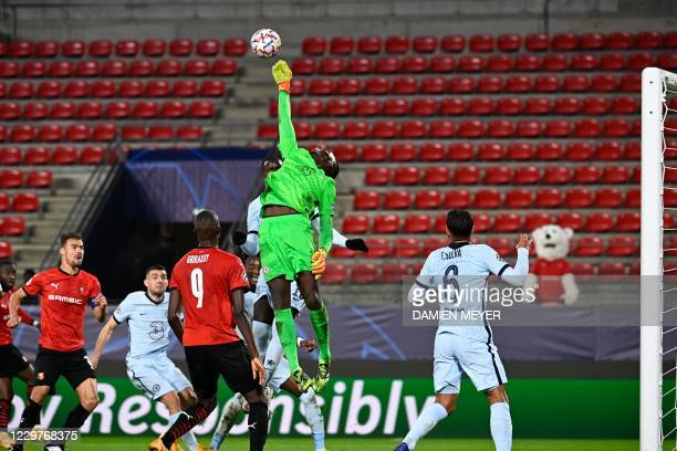 Chelsea's Senegalese goalkeeper Edouard Mendy catches the ball during the UEFA Champions League Group E football match between Stade Rennais FC and...