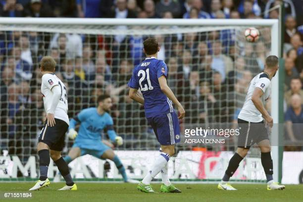 Chelsea's Serbian midfielder Nemanja Matic scores Chelsea's fourth goal during the FA Cup semifinal football match between Tottenham Hotspur and...