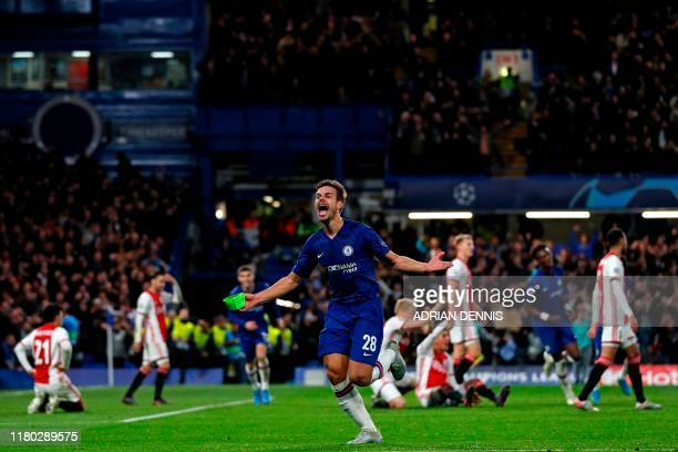 TOPSHOT Chelsea's Spanish defender Cesar Azpilicueta celebrates after thinking he's scored their fifth goal but it is disallowed by the VAR during...