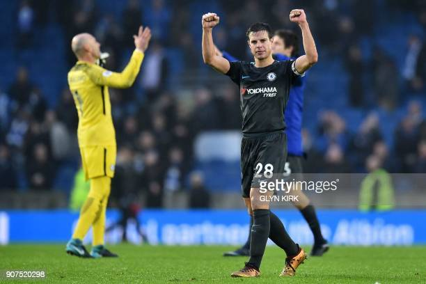 Chelsea's Spanish defender Cesar Azpilicueta celebrates after winning the English Premier League football match between Brighton and Hove Albion and...