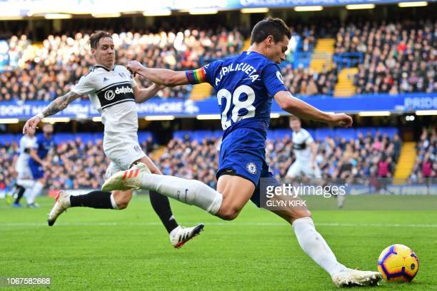 Chelsea's Spanish defender Cesar Azpilicueta crosses the ball during the English Premier League football match between Chelsea and Fulham at Stamford...