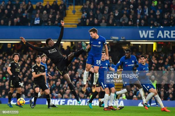 Chelsea's Spanish defender Cesar Azpilicueta goes up against Leicester City's Nigerian midfielder Wilfred Ndidi during the English Premier League...