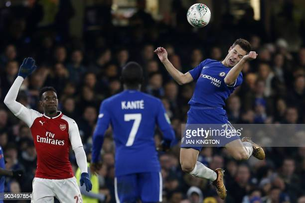 Chelsea's Spanish defender Cesar Azpilicueta tries to control the ball during the English League Cup semifinal first leg football match between...