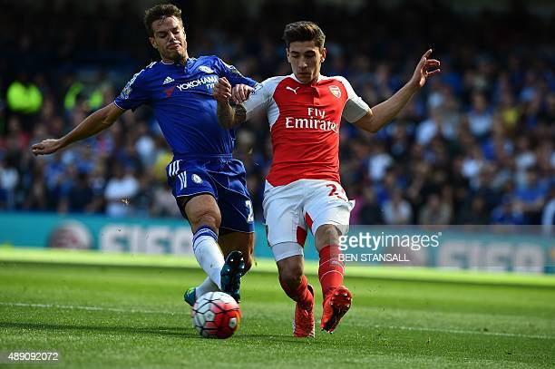 Chelsea's Spanish defender Cesar Azpilicueta vies with Arsenal's Spanish defender Hector Bellerin during the English Premier League football match...