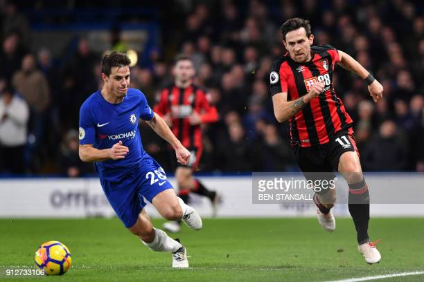 Chelsea's Spanish defender Cesar Azpilicueta vies with Bournemouth's English midfielder Charlie Daniels during the English Premier League football...
