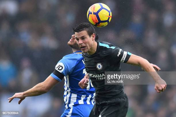 Chelsea's Spanish defender Cesar Azpilicueta vies with Brighton's Israeli striker Tomer Hemed during the English Premier League football match...