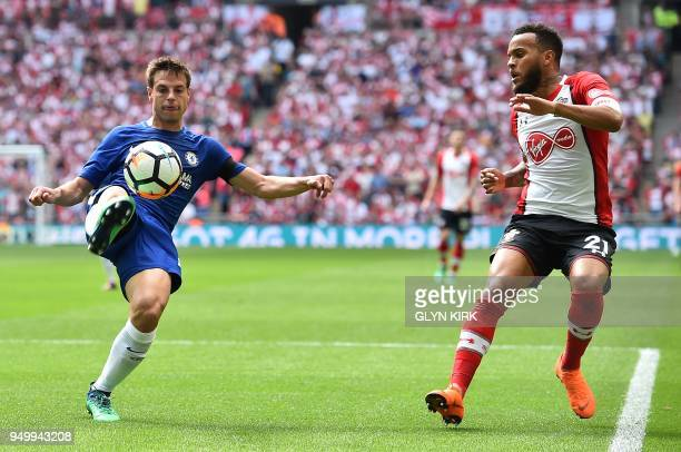 Chelsea's Spanish defender Cesar Azpilicueta vies with Southampton's English defender Ryan Bertrand during the English FA Cup semifinal football...