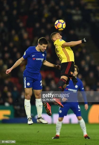 Chelsea's Spanish defender Cesar Azpilicueta vies with Watford's Brazilian striker Richarlison de Andrade during the English Premier League football...