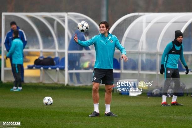 Chelsea's Spanish defender Marcos Alonso attends a training session at Chelsea's Cobham training facility in Stoke D'Abernon southwest of London on...
