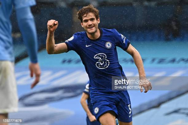 Chelsea's Spanish defender Marcos Alonso celebrates after scoring their second goal during the English Premier League football match between...