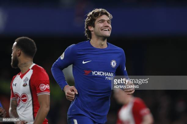 Chelsea's Spanish defender Marcos Alonso celebrates after scoring during the English Premier League football match between Chelsea and Southampton at...