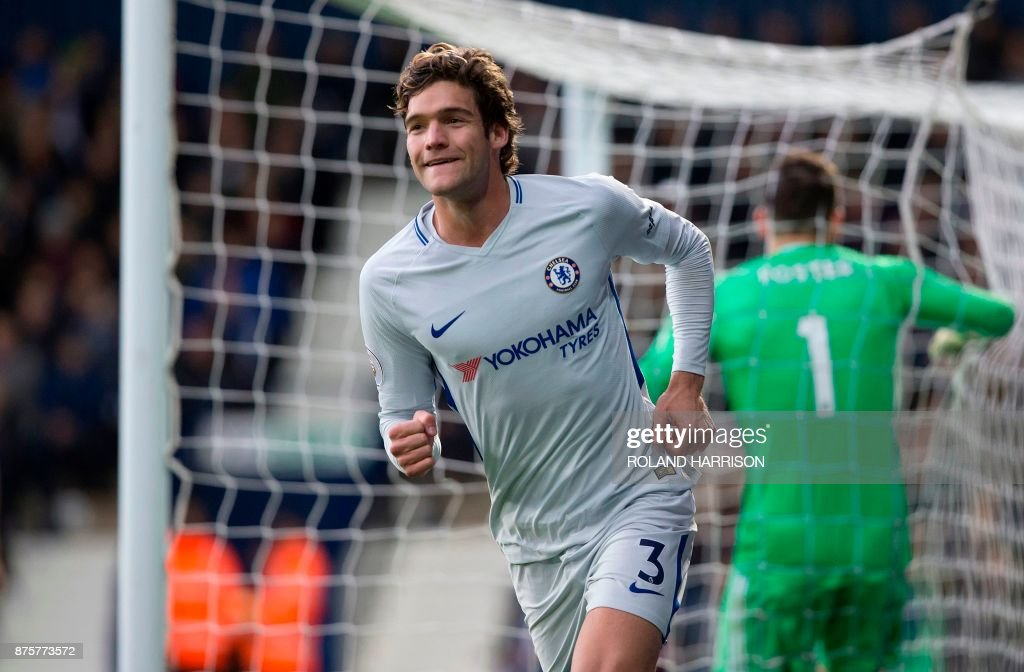 Chelsea's Spanish defender Marcos Alonso celebrates scoring his team's third goal during the English Premier League football match between West Bromwich Albion and Chelsea at The Hawthorns stadium in West Bromwich, central England, on November 18, 2017. PHOTO / Roland Harrison / RESTRICTED TO EDITORIAL USE. No use with unauthorized audio, video, data, fixture lists, club/league logos or 'live' services. Online in-match use limited to 75 images, no video emulation. No use in betting, games or single club/league/player publications. /