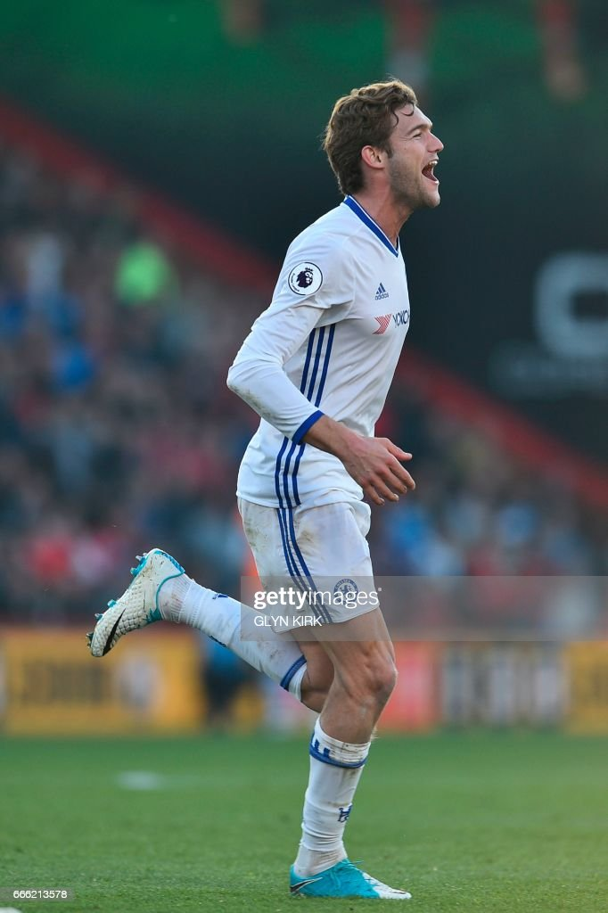 Chelsea's Spanish defender Marcos Alonso celebrates scoring their third goal from a free kick during the English Premier League football match between Bournemouth and Chelsea at the Vitality Stadium in Bournemouth, southern England on April 8, 2017. / AFP PHOTO / Glyn KIRK / RESTRICTED TO EDITORIAL USE. No use with unauthorized audio, video, data, fixture lists, club/league logos or 'live' services. Online in-match use limited to 75 images, no video emulation. No use in betting, games or single club/league/player publications. /