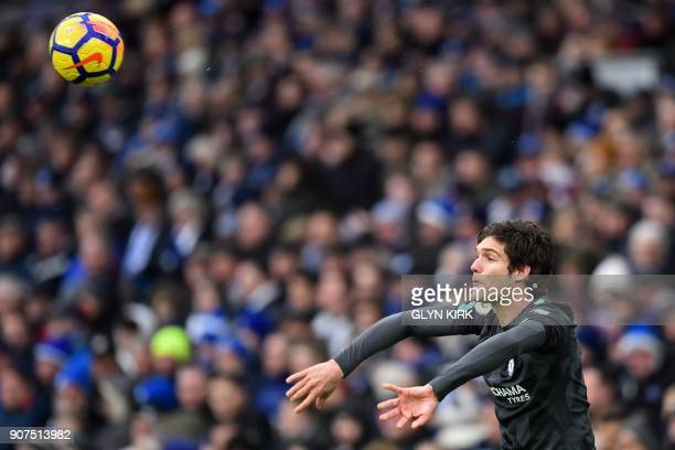 Chelsea's Spanish defender Marcos Alonso takes a throwin during the English Premier League football match between Brighton and Hove Albion and...