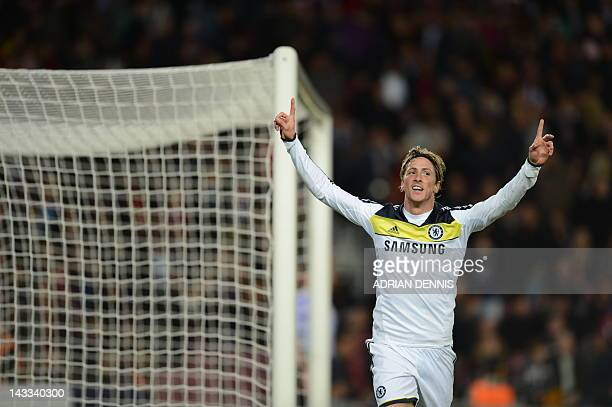 Chelsea's Spanish forward Fernando Torres celebrates after scoring during the UEFA Champions League second leg semifinal football match Barcelona...