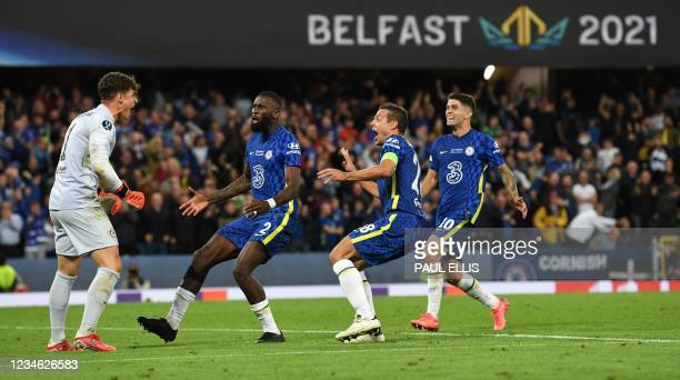Chelsea's Spanish goalkeeper Kepa Arrizabalaga , Chelsea's German defender Antonio Rudiger , Chelsea's Spanish defender Cesar Azpilicueta and...