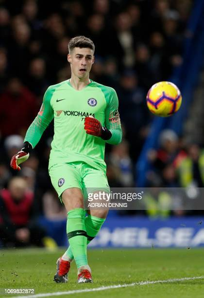 Chelsea's Spanish goalkeeper Kepa Arrizabalaga passes the ball during the English Premier League football match between Chelsea and Manchester City...