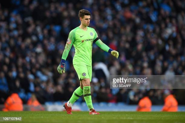 Chelsea's Spanish goalkeeper Kepa Arrizabalaga reacts during the English Premier League football match between Manchester City and Chelsea at the...