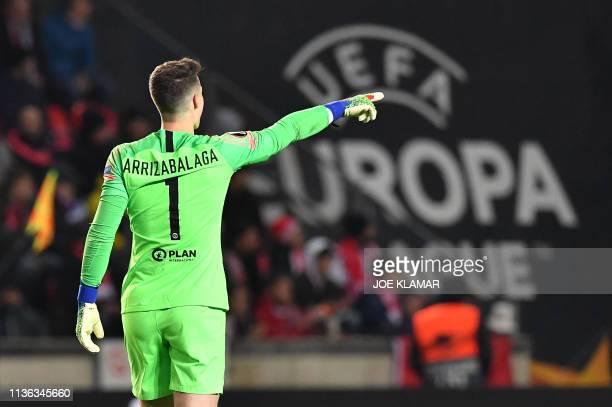 Chelsea's Spanish goalkeeper Kepa Arrizabalaga reacts during the UEFA Europa League quarter-final, first leg, football match Slavia Prague v Chelsea...