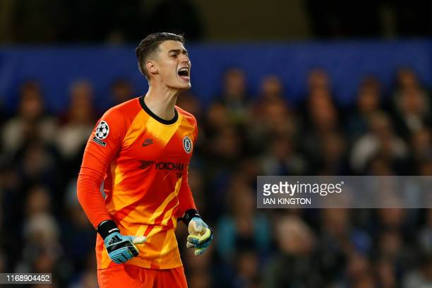 Chelsea's Spanish goalkeeper Kepa Arrizabalaga shouts during the UEFA Champion's League Group H football match between Chelsea and Valencia at...