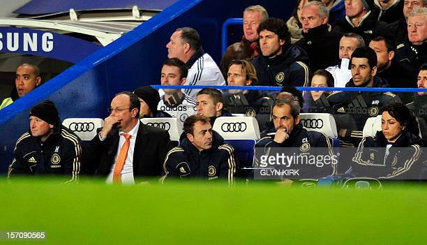 Chelsea's Spanish manager Rafael Benitez watches from the bench during the English Premier League football match between Chelsea and Fulham at...