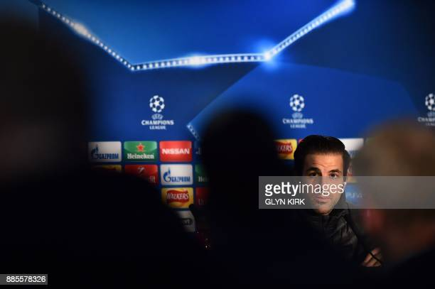 Chelsea's Spanish midfielder Cesc Fabregas attends a press conference at Stamford Bridge in London on December 4 on the eve of their UEFA Champions...
