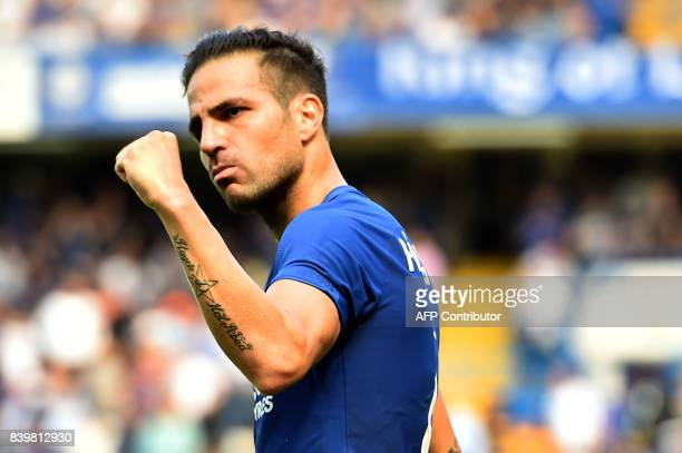 Chelsea's Spanish midfielder Cesc Fabregas celebrates scoring his team's first goal during the English Premier League football match between Chelsea...