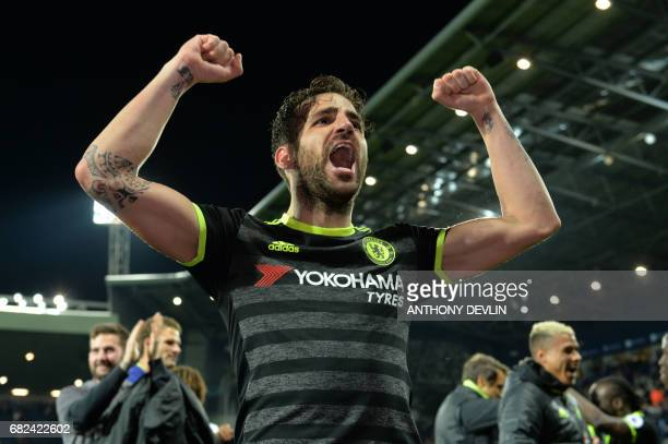 Chelsea's Spanish midfielder Cesc Fabregas celebrates victory after the English Premier League match between West Bromwich Albion and Chelsea at The...