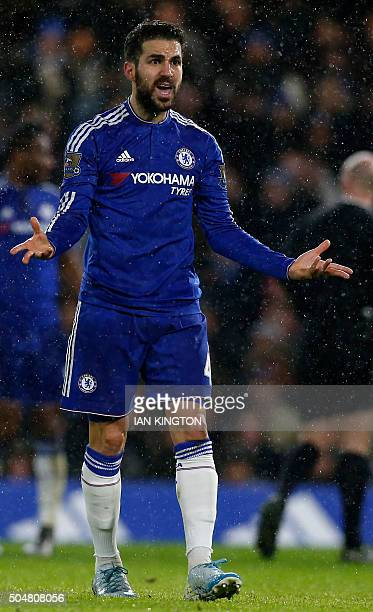 Chelsea's Spanish midfielder Cesc Fabregas gestures during the English Premier League football match between Chelsea and West Bromwich Albion at...