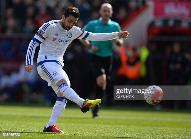 Chelsea's Spanish midfielder Cesc Fabregas has an unsuccessful shot during the English Premier League football match between Bournemouth and Chelsea...
