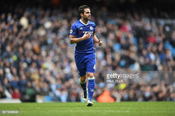 Chelsea's Spanish midfielder Cesc Fabregas runs during the English Premier League football match between Manchester City and Chelsea at the Etihad...