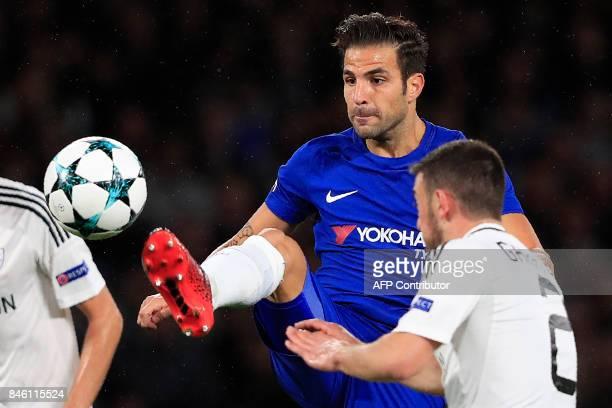 Chelsea's Spanish midfielder Cesc Fabregas vies with Qarabag's Azerbaijani midfielder Gara Garayev during the UEFA Champions League Group C football...