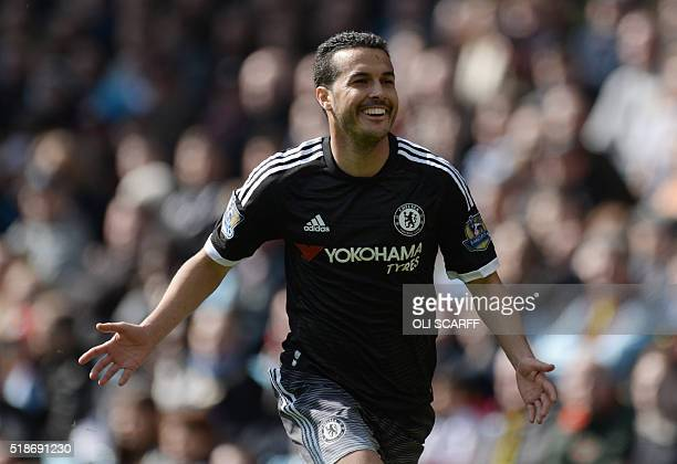 Chelsea's Spanish midfielder Pedro celebrates after scoring his second goal and Chelsea's fourth during the English Premier League football match...