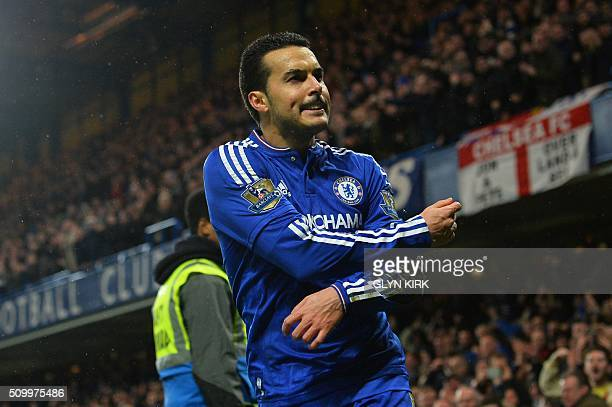 Chelsea's Spanish midfielder Pedro celebrates scoring his team's second goal during the English Premier League football match between Chelsea and...