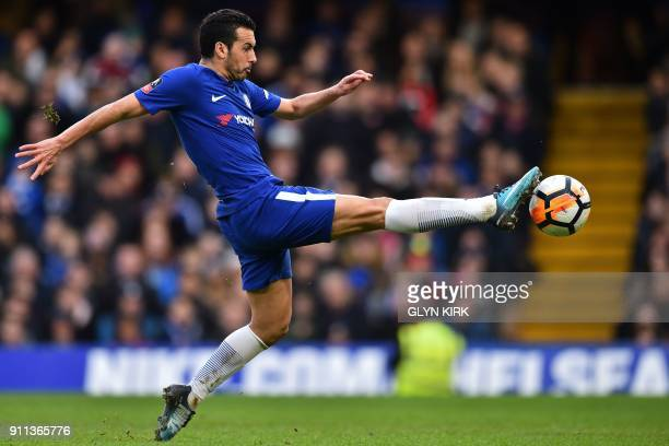TOPSHOT Chelsea's Spanish midfielder Pedro controls the ball during the English FA Cup fourth round football match between Chelsea and Newcastle...