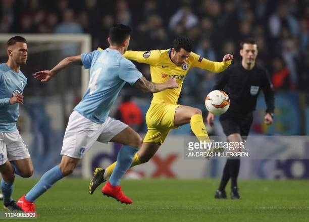 Chelsea's Spanish midfielder Pedro plays the ball during the UEFA Europa League round of 32 firstleg football match between Malmo FF and Chelsea in...