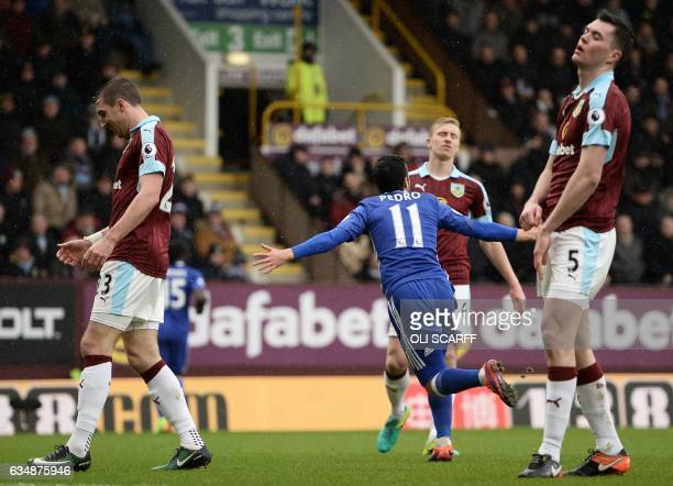 Chelsea's Spanish midfielder Pedro turns to celebrate after scoring the opening goal of the English Premier League football match between Burnley and...
