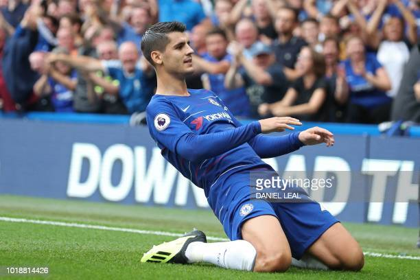 Chelsea's Spanish striker Alvaro Morata celebrates after scoring their second goal during the English Premier League football match between Chelsea...