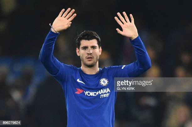Chelsea's Spanish striker Alvaro Morata celebrates after the English League Cup quarterfinal football match between Chelsea and Bournemouth at...